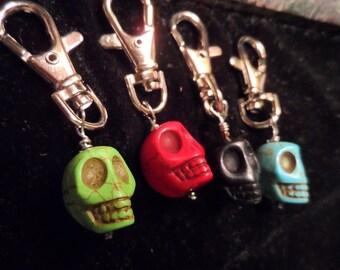 Set of 4 Day of the Dead Skull Key Ring