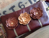 Ready to Ship Brown Manogany Tan Leather Wristlet Clutch Small Purse Iphone Galaxy Cell Phone Brown Poppy Flowers with Key Fob