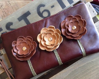 Brown Manogany Tan Leather Wristlet Clutch Small Purse Iphone Galaxy Cell Phone Brown Poppy Flowers with Key Fob