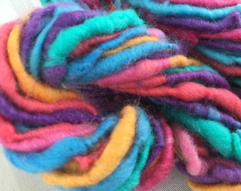 Handspun Art Yarn hand spun hand dyed Bulky Photo Prop Newborn Waldorf Hair wool merino