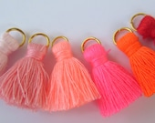 Small Cotton Jewelry Tassels with Matching Binding and Gold Plated Jump Ring, 6 Color Pinks, Orange and Red Mix, 6 pcs, Approx 25mm