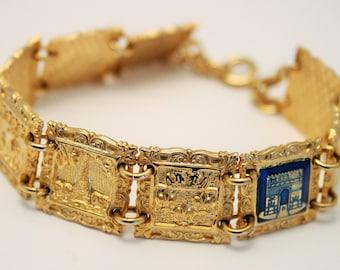 Vintage Paris bracelet.  Enamel and goldplate