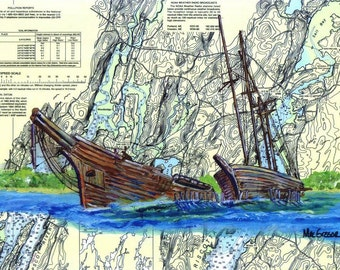 Hesper and Luther Little Nautical Chart Matted Art Print ( Wiscasset Maine famous ship wrecks)