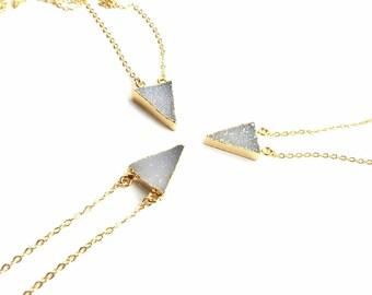 Crystal druzy necklace-24k gold plated druzy- light  grey cystal necklace