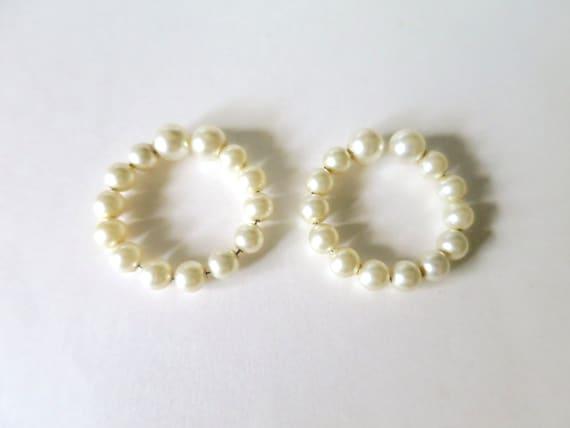 Vintage Pearl Hoop Earrings Pearl Post Look by ...