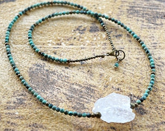 Raw Rock Quartz Necklace Natural African Turquoise Necklace Small Petite Beads Thin Necklace Statement Necklace Bohemian Jewelry Boho Tribal