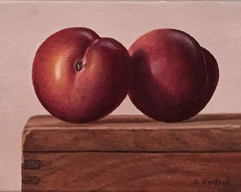 Plums Still Life Original Oil Painting, Framed, by Sheila Cantrell