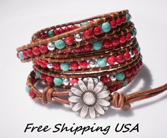 Wild Wild West Leather Wrap Bracelet 5X Red Turquoise