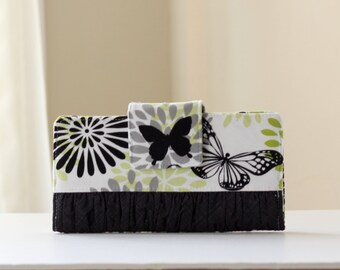 Butterfly Women's Wallet, Black White and Green Butterfly Wallet, Handmade Bifold Wallet in Gray Clouds - READY to SHIP