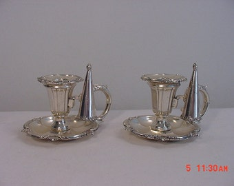 Set Of Two Vintage Tarnish Protected Miniature Candle Sticks With Snuffers 16 - 259