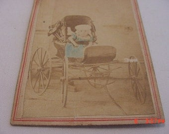 Vintage Real Photograph Of A Baby In A Tiny Carriage   16 - 443