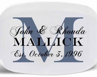 Personalized Platter Monogram Initialed 13 x 9 in