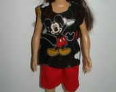 Handmade clothes for doll such as Lammily- Red shorts and Black mickey top