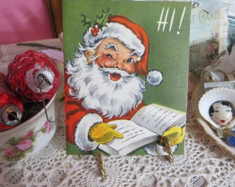 Vintage Retro Mid Century Christmas Greeting Cards-Chubby Face Santa-Set of 3-Unused