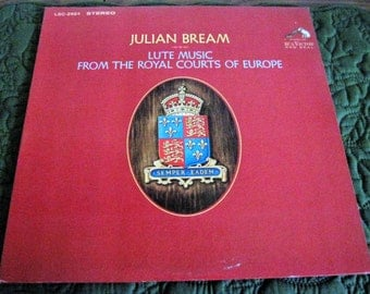 Vintage RCA Victor Vinyl LP Record Album Julian Bream Lute Music From The Royal Courts of Europe, LSC-2924 Stereo Circa 1967