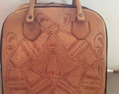 Vintage 1950s Bowling Bag Hand Tooled Leather Bowling Pin Design & Buck (Deer)