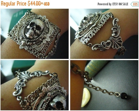 Aged sterling silver plated brass skull cameo gothic bracelet,