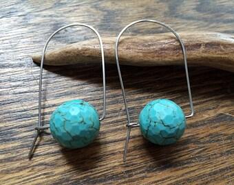 Modern blue stone wire hoop earrings, faceted blue magnesite mod hoops
