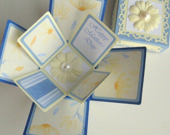 Mothers Day Exploding Box Card Blue and Yellow Floral