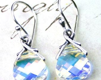 ON SALE Briolette Crystal Earrings in Crystal AB - Handmade with Swarovski Crystal and Sterling Silver - Crystal Drop Earrings