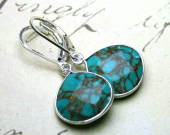 ON SALE Faceted Blue Turquoise Earrings - Genuine Turquoise Pear Shaped Earrings with Sterling Silver Leverbacks