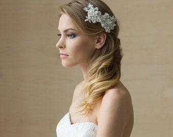 Bridal hair piece, Bridal hair accessories, Wedding hair piece, Wedding Hair comb, Lace hair comb, Bridal hair comb, Rhinestone Pearl comb
