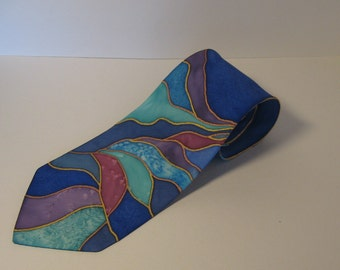 Blue silk necktie
