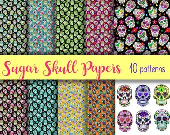 SUGAR SKULLS Digital Paper Pack - 10  Papers  -Instant Download Digital Printable Papers  - Halloween Day of the Dead