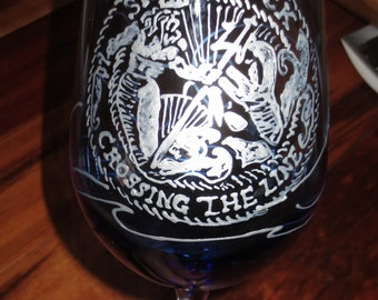 Shellback Wine Glass Hand Painted Crossing the Line