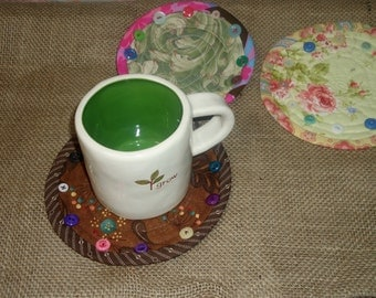 Round Coaster, small mug rug, quilted button coaster, drink mat, candle mat