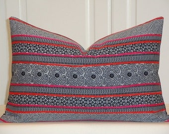 Tribal Decorative Pillow Cover - Hmong Pillow - Navy Pillow - Pink Orange Embroidery Accent Pillow - Toss Pillow
