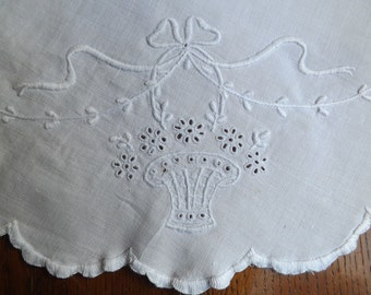 White On White Hand Embroidered  Doily