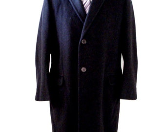 Vintage 1950s Charcoal Black Mens Camel Hair Overcoat - 50s Men's Wool Coat from Pogues - 1957 Union Label - Size Small to Medium - 39 R