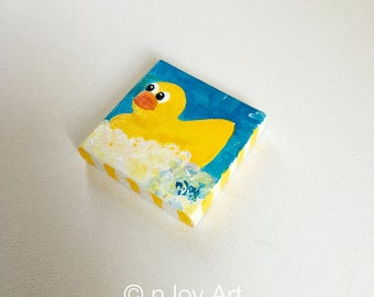 Art magnet, Rubber Ducky Bubble Bath, 2x2 inch acrylic painting