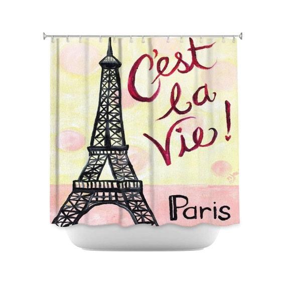 C 39 est la vie eiffel tower shower curtain paris themed by - French themed bathroom accessories ...