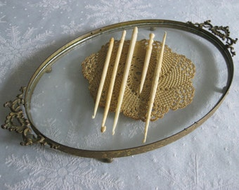 Five Antique Bone Crochet Tools / Hooks and Awl