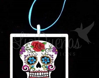 2x2 Ceramic Tile Ornament - Dia de Los Muertos-Day of the Dead Sugar Skull (SSO6) Ready to Ship