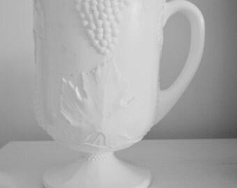 Indiana Harvest-Milk Glass by Colony Grapes Pattern lemonade Pitcher 64 Oz Ice Lip