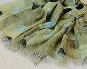Geometric print scarf natural linen gauzy pale olive frayed designer's scarf with bubles in pastel colors