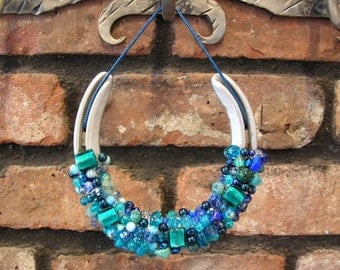Beaded Horseshoe - Authentic Horseshoe Decorated Good Luck Wall Hanging