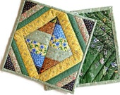 "Quilted Scrappy Pot Holders / Hot Pads / Trivets / Mug Rugs / Candle Mats – 9-1/2"" x 9-1/2"" - Set of 2 – Green, Blue Brown, Yellow"