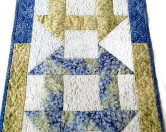Handmade Quilted Table Runner / Quilted Table Topper / Summer Table Runner / Spring Table Runner - Blue, Yellow, Green and White