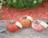 Reserved listing for Nancy Lang Set of 3 Primitive Wool Pumpkins