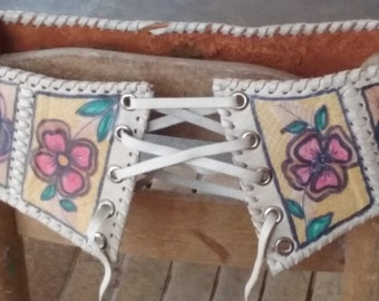 70s CHAR--Leather Corset Belt--Painted Flowers--Drawstring Ties--Size XS
