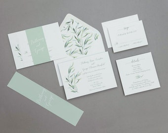 Calligraphy Wedding Invitations Set ,Modern Greenery Wedding Invitation,Eucalyptus Wedding Invites,Modern Greenery Spring Wedding Invitation