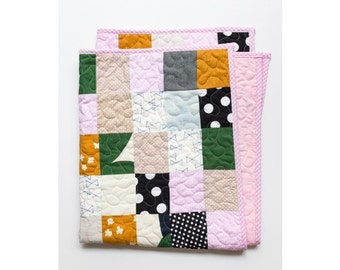 Denim Pink Bows Pram Quilt. Baby's nursery.