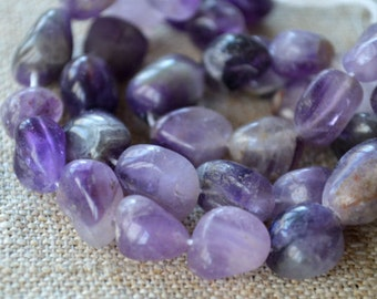 Banded Amethyst 10-15mm Tumbled Nugget Beads Gemstone Bead 16 Inch Strand