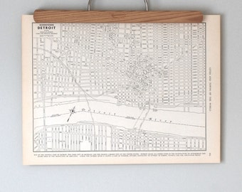 Detroit, Michigan 1930s Antique City Map