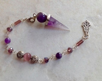 Amazing 3 in 1 Crown Chakra Amethyst Crystal Pendulum / Pendant / Bracelet - Dowsing Psychic Reiki Feng Shui Jewelry