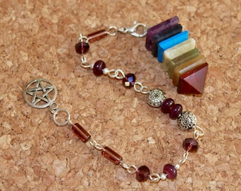 7 Chakra Pyramid Gemstone Pendulum / Pendant / Bracelet - Magic Dowsing Divination Feng Shui Jewelry Reiki Energy